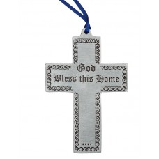 "CROSS - BLESS THIS HOME 2.5"" X 4"" TALL / BLUE RIBBON"