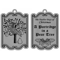 PARTRIDGE IN A PEAR TREE FLAT ORNAMENT W/ RED RIBBON