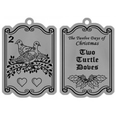 TWO TURTLE DOVES FLAT ORNAMENT W/ RED RIBBON