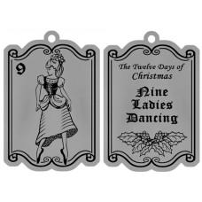 NINE LADIES DANCING FLAT ORNAMENT W/ RED RIBBON