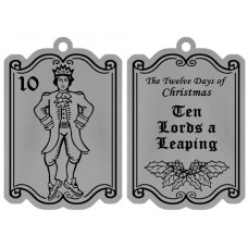 TEN LORDS A LEAPING FLAT ORNAMENT W/ RED RIBBON