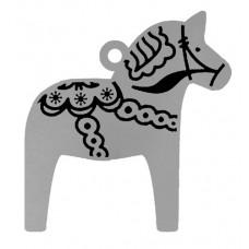 SWEDISH DALA HORSE FLAT ORNAMENT W/ RED RIBBON