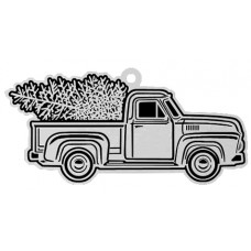 TRUCK WITH CHRISTMAS TREE FLAT ORNAMENT W/ RED RIBBON