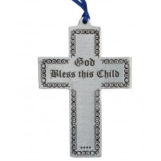 "CROSS - BLESS THIS CHILD 2.5"" X 4"" TALL / BLUE RIBBON"