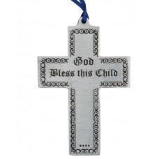"CROSS - BLESS THIS CHILD 2.5"" X 4"" TALL / BLUE RIBBON"