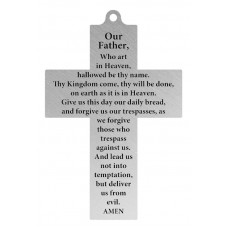 "CROSS - LORD'S PRAYER 2.5"" X 4"" TALL / BLUE RIBBON"