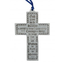 "CROSS - SERENITY PRAYER 2.5"" X 4"" TALL / BLUE RIBBON"