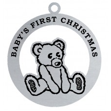 BABY'S FIRST CHRISTMAS FLAT ORNAMENT W/ RED RIBBON