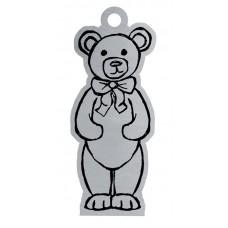 TEDDY BEAR FLAT ORNAMENT W/ RED RIBBON