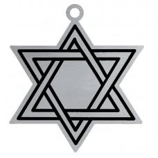 STAR OF DAVID FLAT ORNAMENT-BLUE RIBN