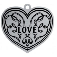 HEART - LOVE FLAT ORNAMENT-RED RIBN