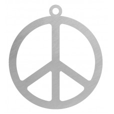 PEACE SYMBOL FLAT ORNAMENT-RED RIBN