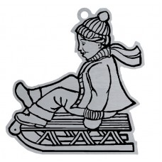 CHILD ON SLED FLAT ORNAMENT-RED RIBN