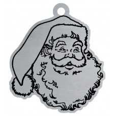 SANTA CLAUS FLAT ORNAMENT-RED RIBN