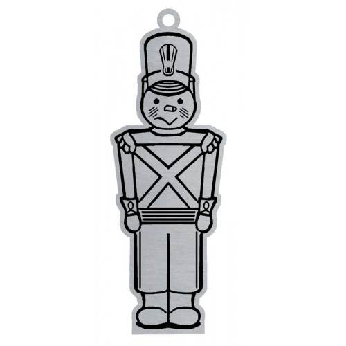 Pewter Toy Soldier Flat Ornament W/ Red Ribbon | Woodbury Pewter