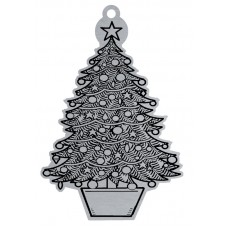 CHRISTMAS TREE FLAT ORNAMENT-RED RIBN